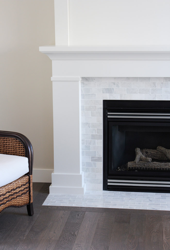 Classic White Fireplace with Painted MDF Mantel and Marble Surround