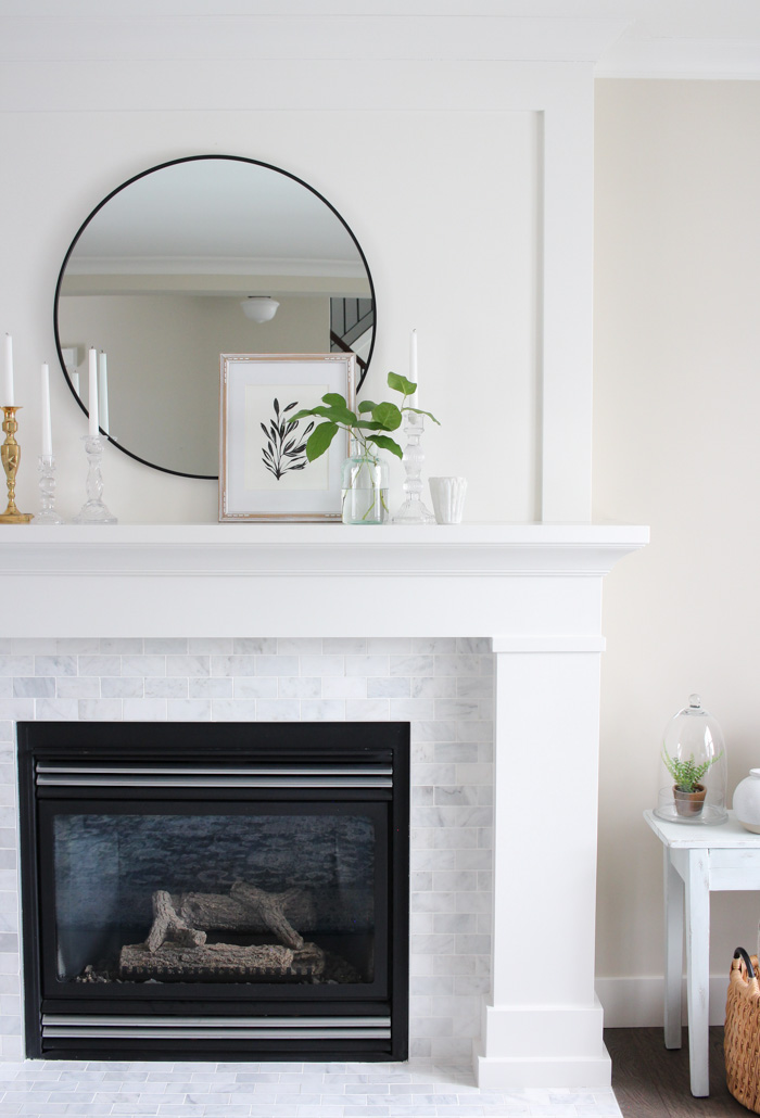 Classic White Fireplace Makeover with MDF Mantel and Marble Subway Tile Surround