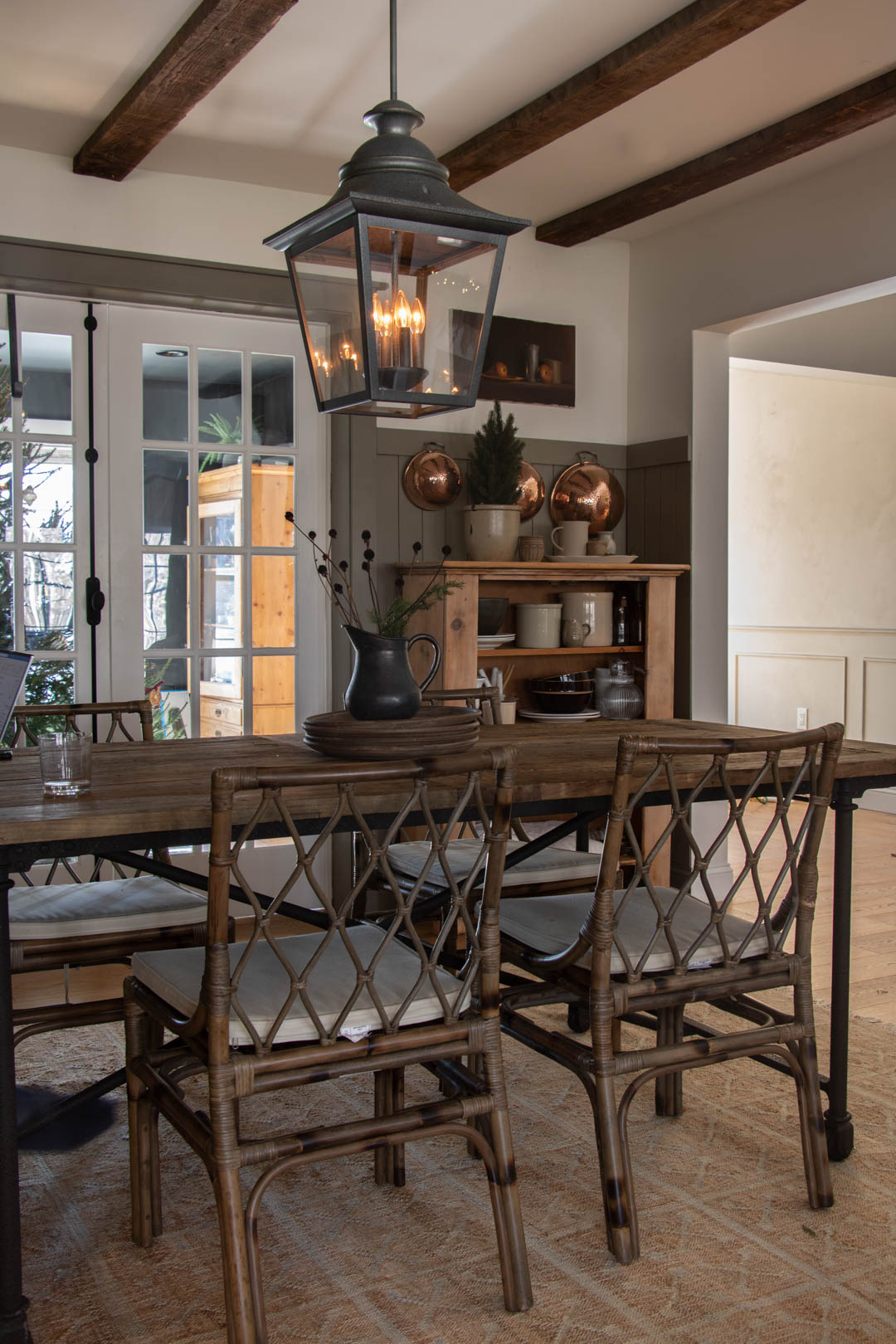 Copley Gray Dining Room with Farmhouse Table - Seeking Lavender Lane