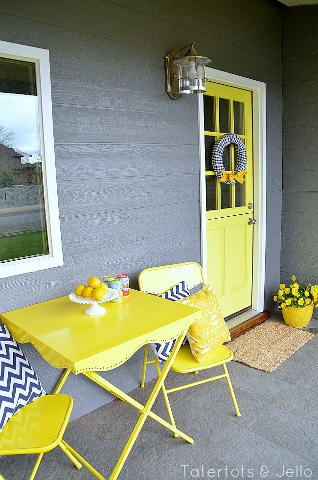 Cottage Porch with Bright Yellow Door and Bistro Set - Fun Paint Colours - Tatertots and Jello
