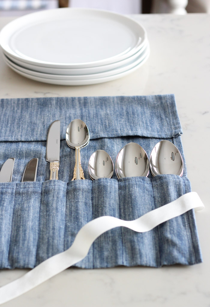Roll Up Cutlery Holder Made Using a Dish Towel and Ribbon