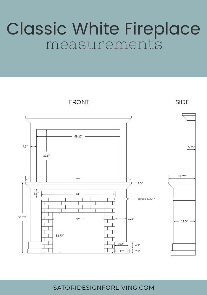 Measurement Guide to Build a Classic White Fireplace - Front and Side Views