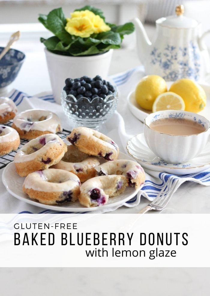 Gluten Free Baked Blueberry Lemon Donuts Stacked on White Plate
