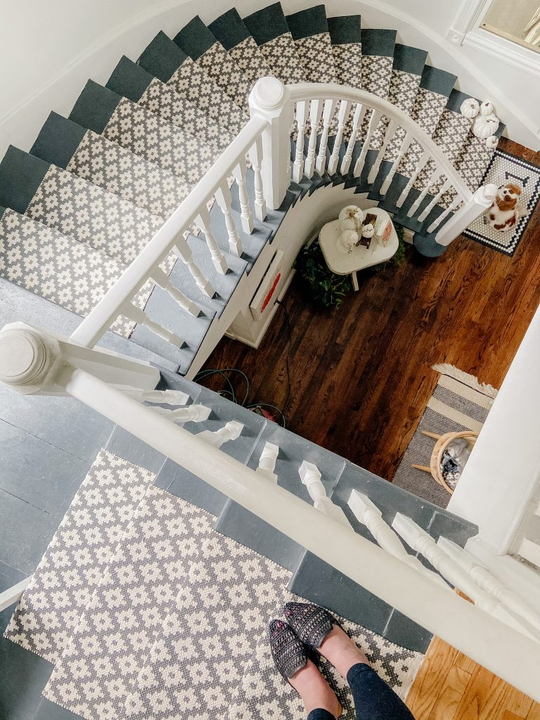 Graphite Spiral Staircase with Samode Patterned Runner - Tatertots and Jello