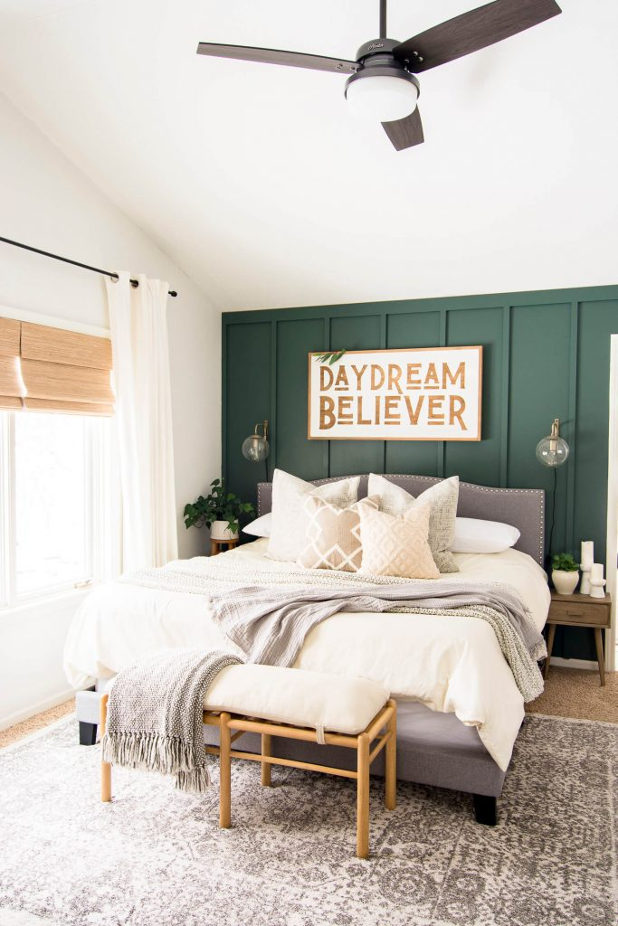 Bedroom with Board and Batten Wall Painted in Regal Leaf by Magnolia Home - Grace in My Space