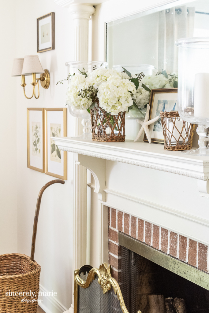 Navajo White Fireplace Mantel with Brick Surround - Sincerely, Marie Designs