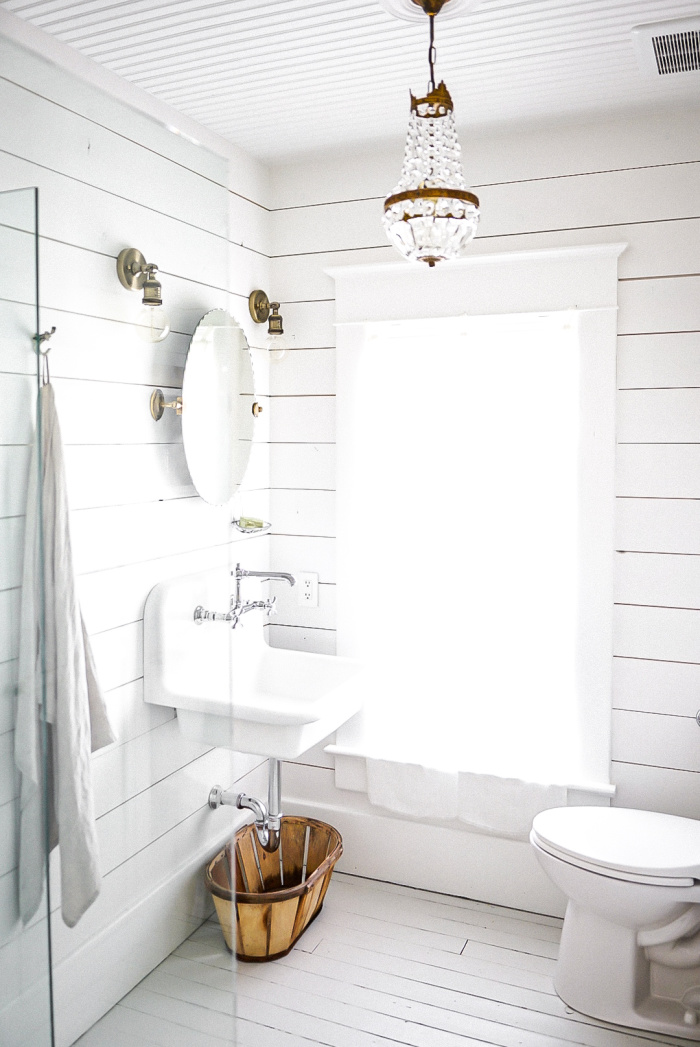 Benjamin Moore Oxford White Bathroom with Vintage Touches - Vintage Society Co.
