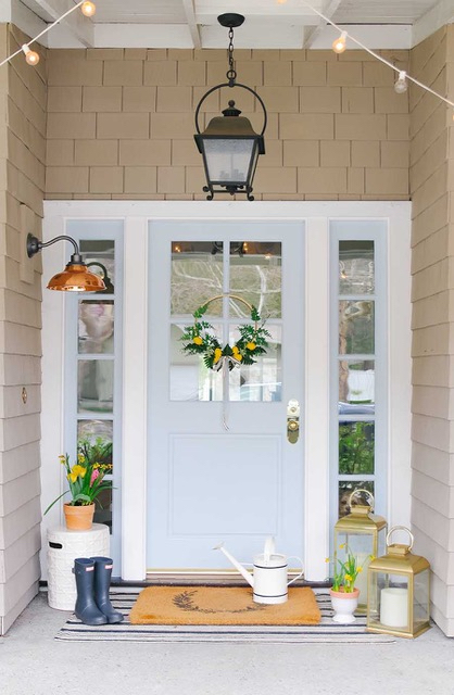 Pale Blue Gray Front Door with Spring Decor - Modern Glam
