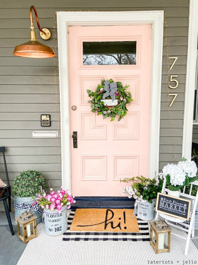 Pink Front Door Decorated for Spring - Fun Paint Colours - Tatertots and Jello