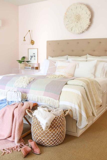 Pink Master Bedroom Walls - Modern Glam