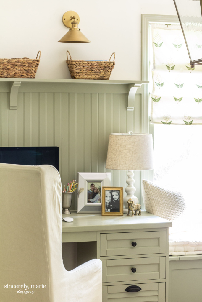 Sherwin Williams Svelte Green Office Desk and Walls - Sincerely, Marie Designs