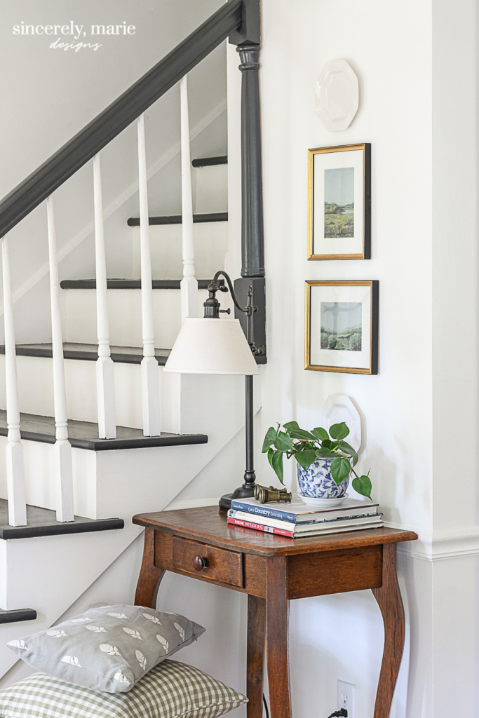 Simply White Foyer with Gold Framed Art - Sincerely, Marie Designs