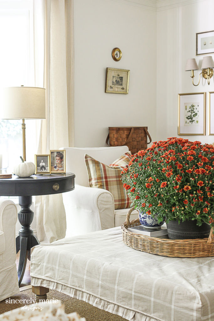 Simply White Living Room Decorated for Fall - Sincerely, Marie Designs