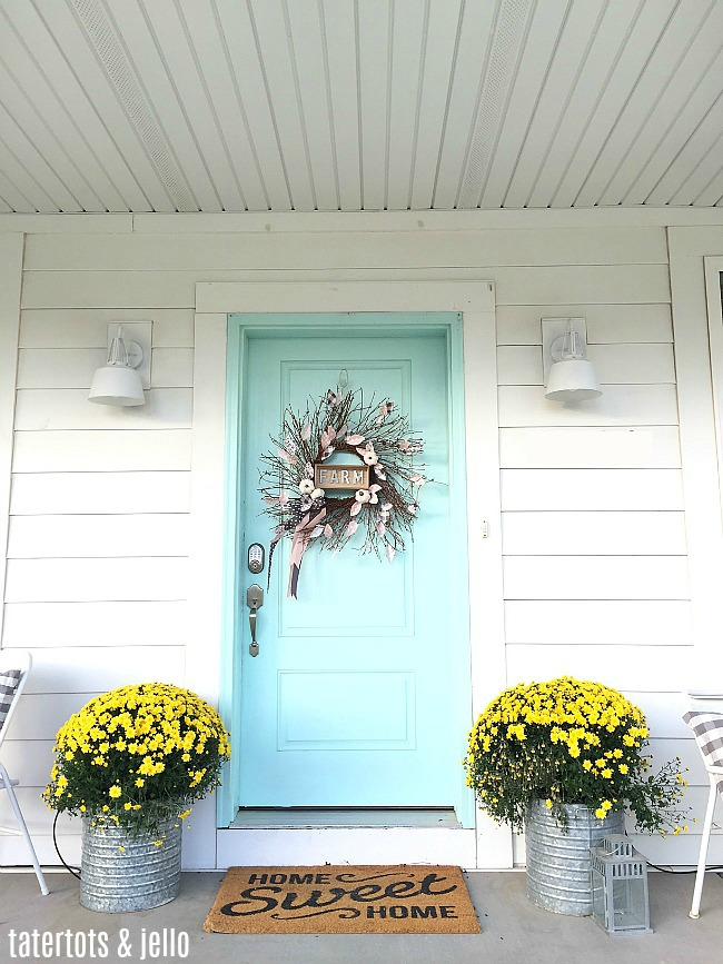 Teal Front Door with Fall Farmhouse Wreath - Tatertots and Jello