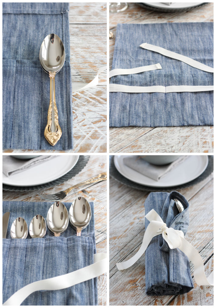 How to Sew a Roll Up Cutlery Holder Using a Tea Towel and Ribbon