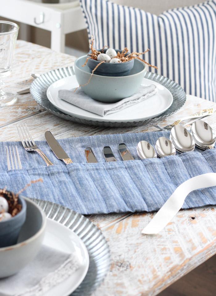 DIY Tea Towel Flatware Holder with Pockets for Spoons, Forks and Knives