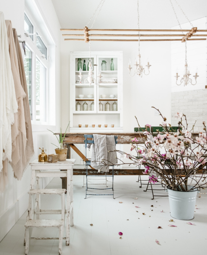 White Dining Room with Vintage Decor - Vintage Society Co.