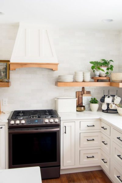 White Dove Kitchen Cabinets with Floating Shelves - Grace in My Space
