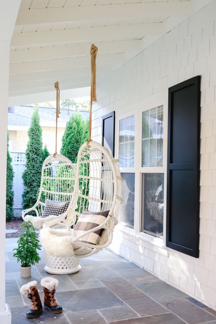 White House with Black Shutters - Modern Glam