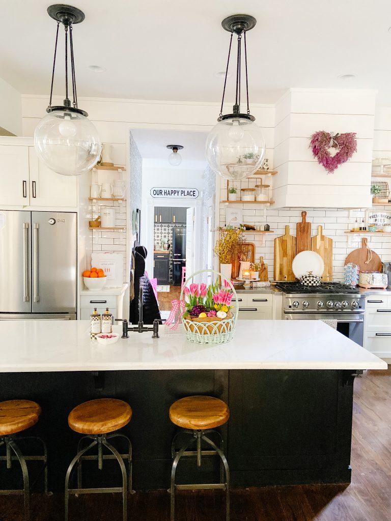 Glidden Delicate White Kitchen with Black Island - Tatertots and Jello