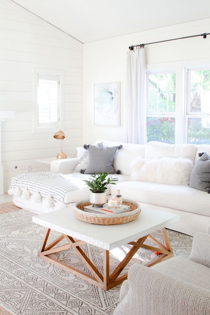 White Living Room with Shiplap Feature Wall - Modern Glam