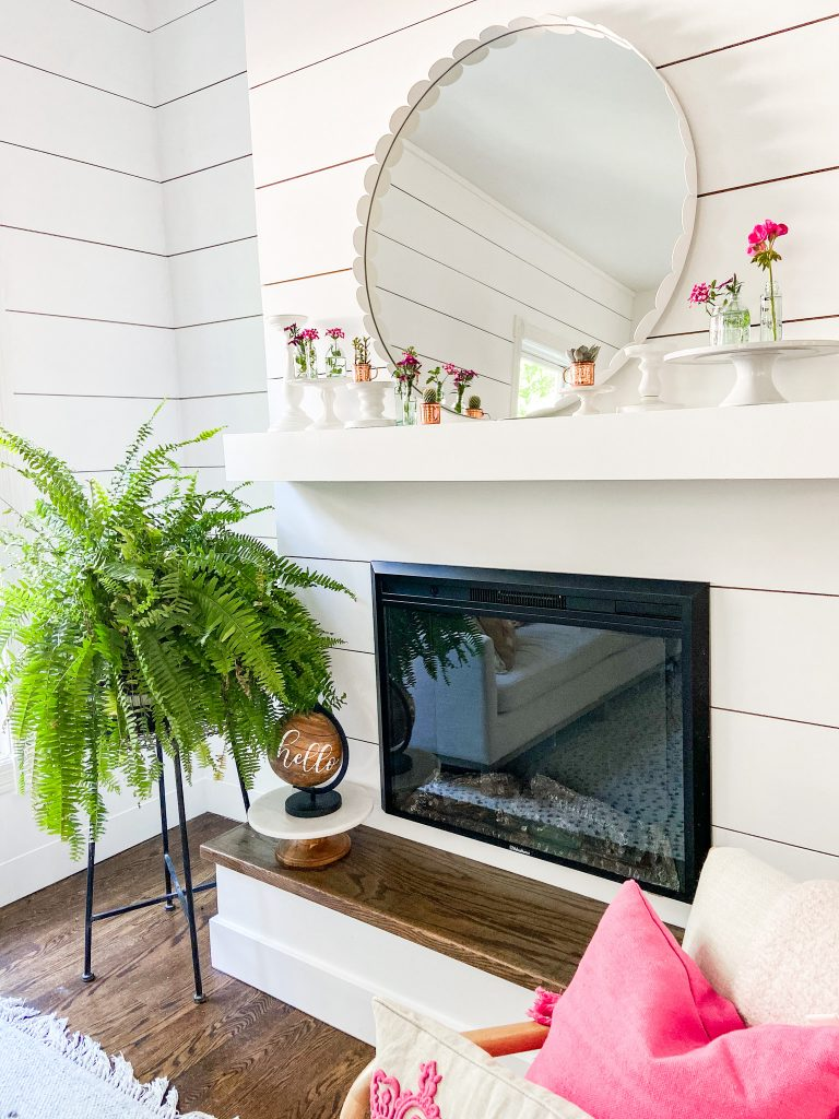 White Planked Fireplace with Round Mirror - Tatertots and Jello