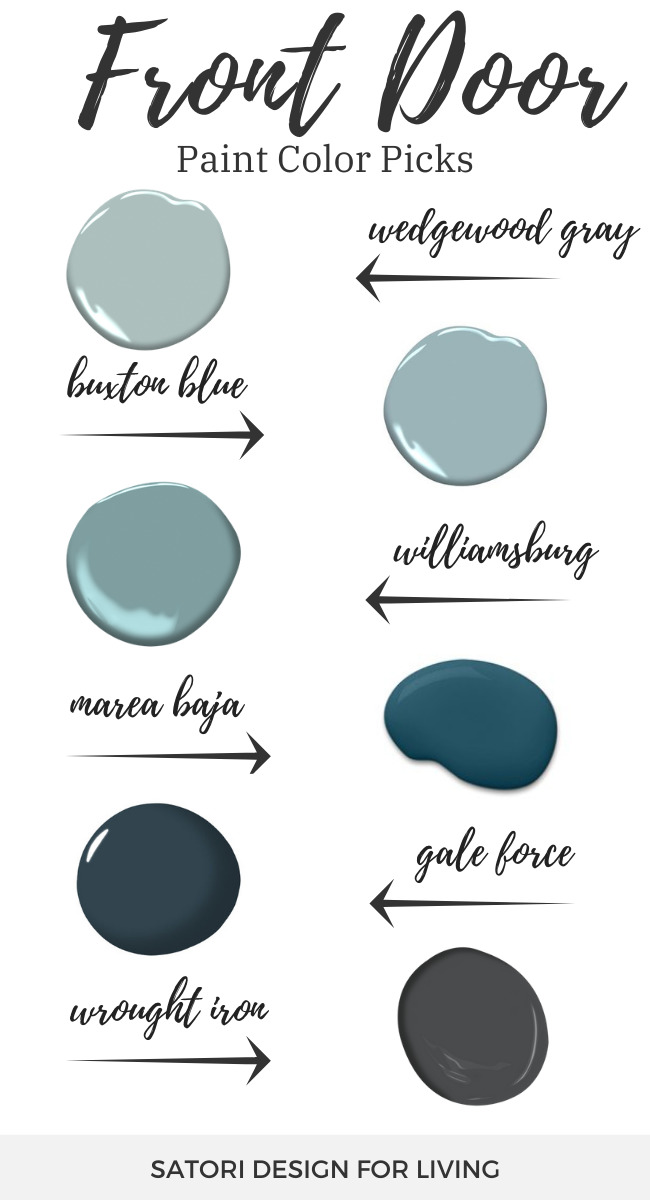Front Door Paint Colors - Blue, Blue-Green and Charcoal