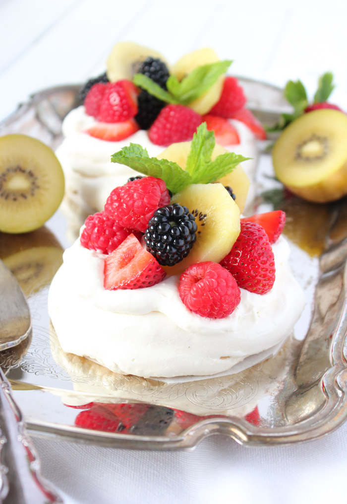 Mini Pavlova Desserts on Silver Tray