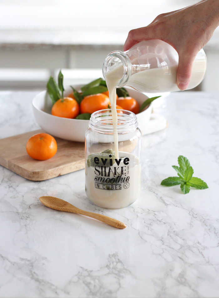 Pouring Cashew Milk into Jar with Evive Frozen Cubes