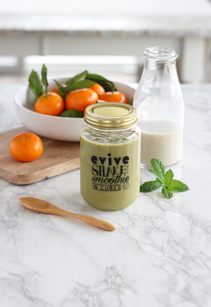 Green Smoothie in Jar on Marble Countertop