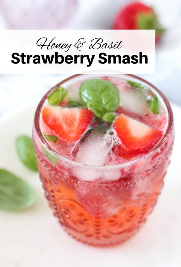 Strawberry Basil Cocktail in Pink Tumbler