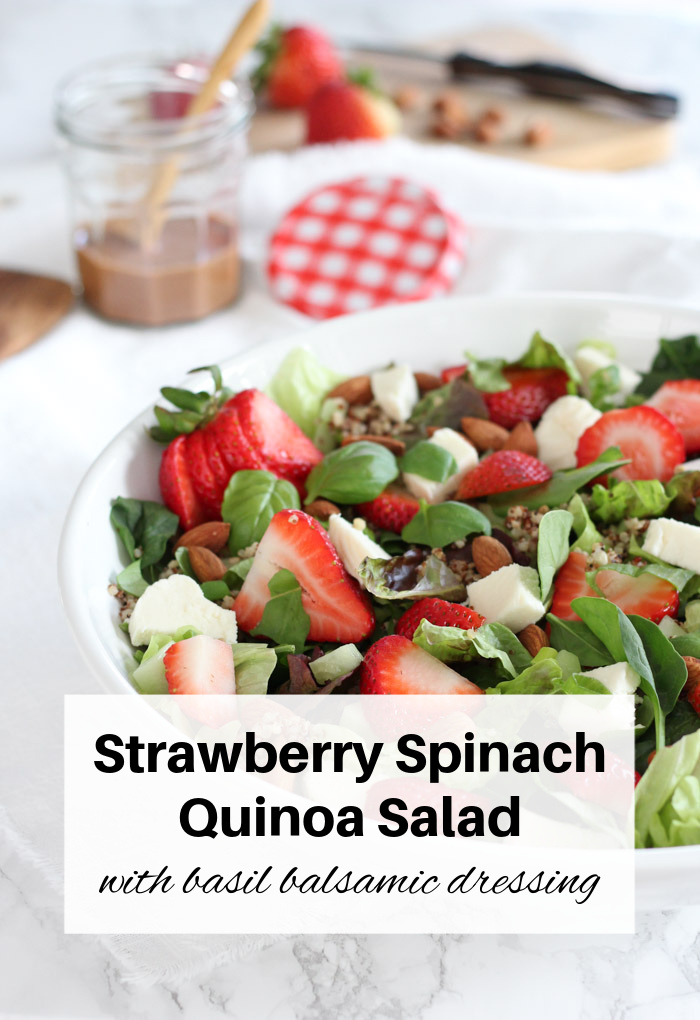 Strawberry Spinach Quinoa Salad with Basil Balsamic Dressing