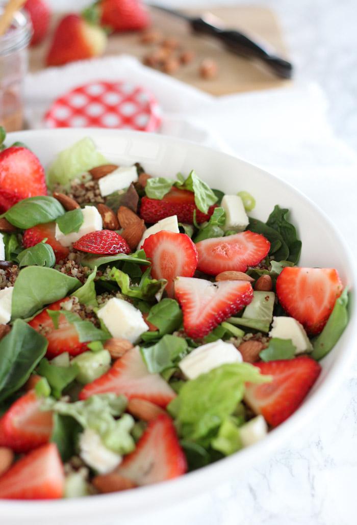 Strawberry Quinoa Salad with Mixed Greens and Fresh Mozzarella in White Salad Bowl