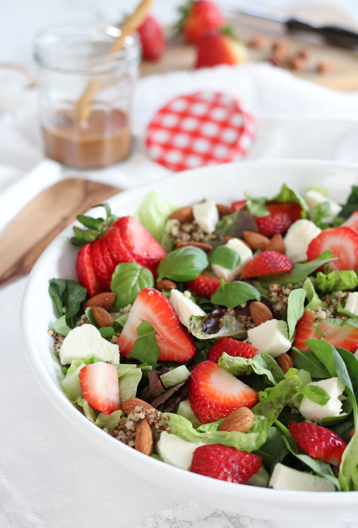 Strawberry Spinach Salad with Quinoa and Jar of Balsamic Basil Dressing