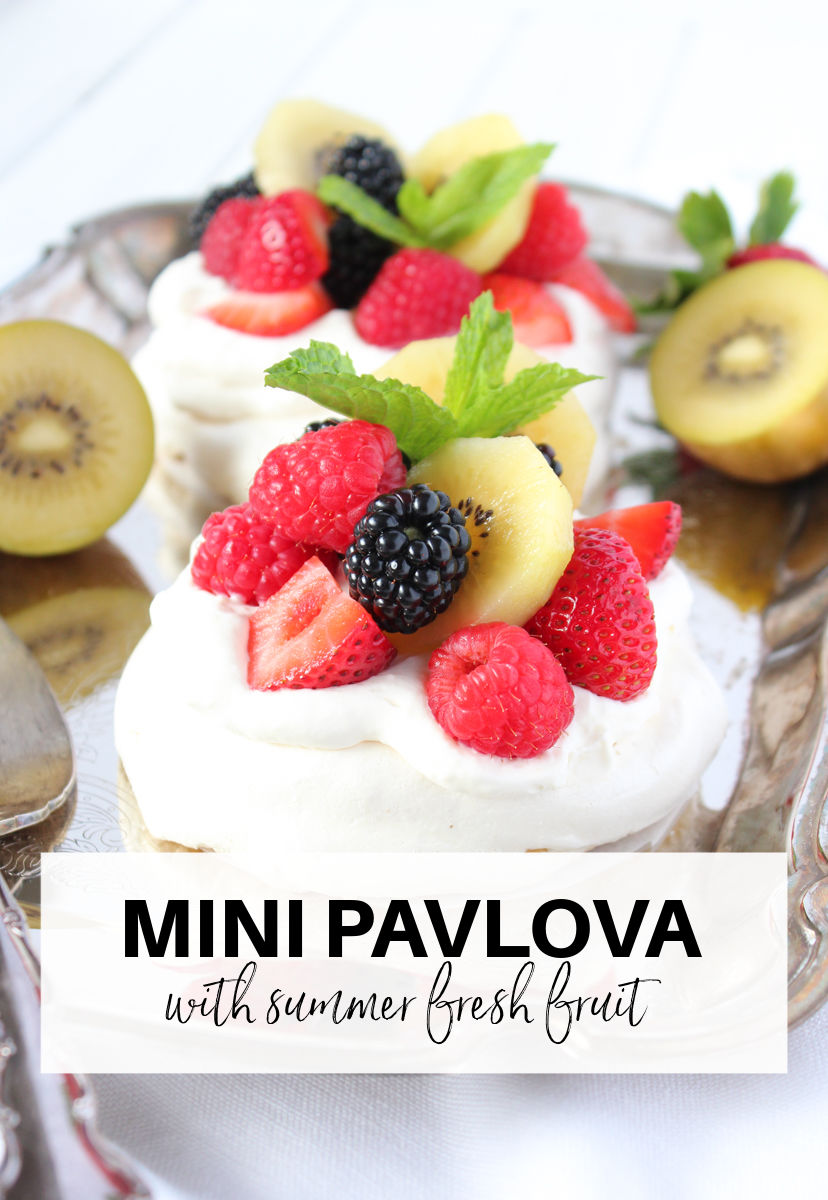 Mini Pavlova Dessert with Whipped Cream, Kiwifruit and Berries
