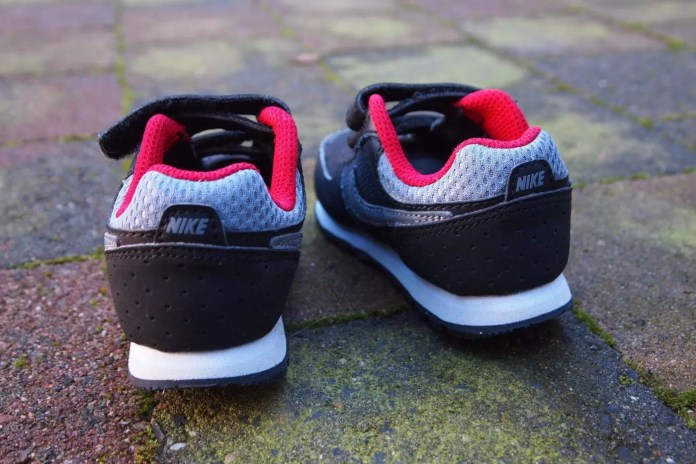 Red, Black and white combo shoes