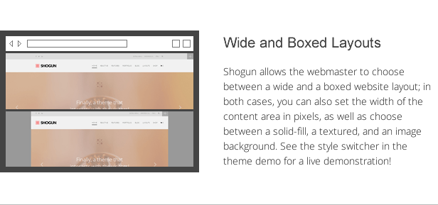 shogun features - wide and boxed layouts