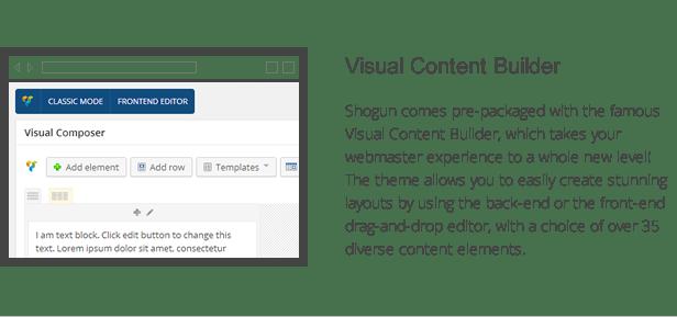 shogun features - visual content builder