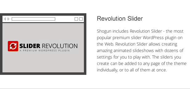 shogun features - revolution slider