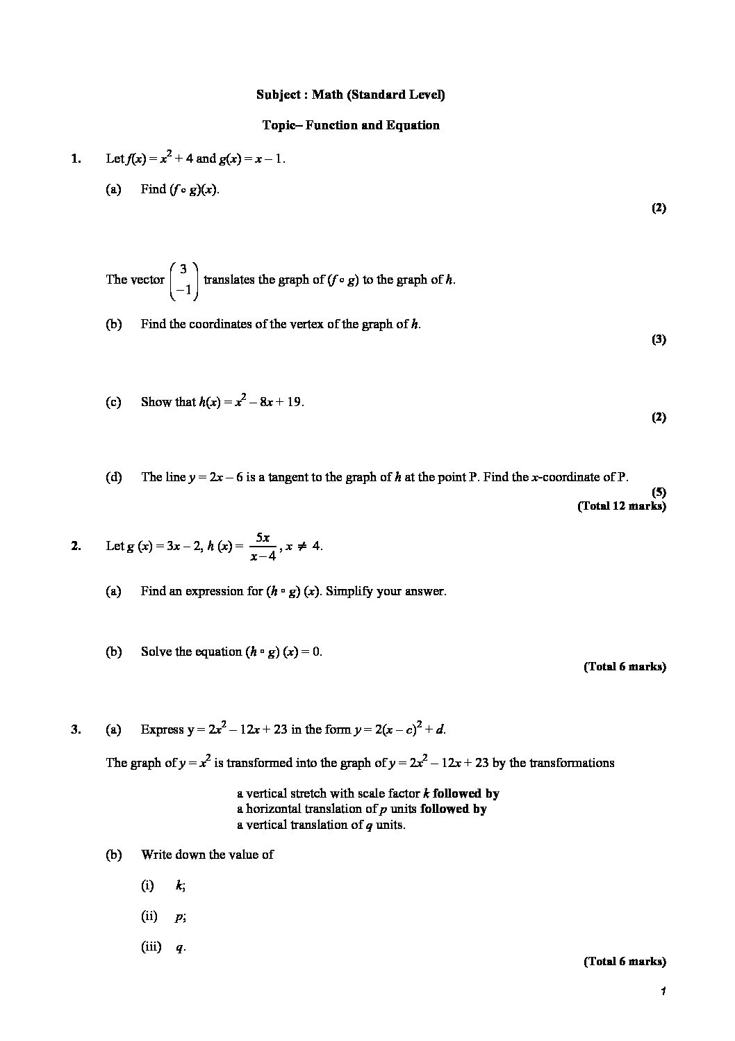 This Post About Practice Worksheet Of Questions Of Function And Equation The Type Of Questions