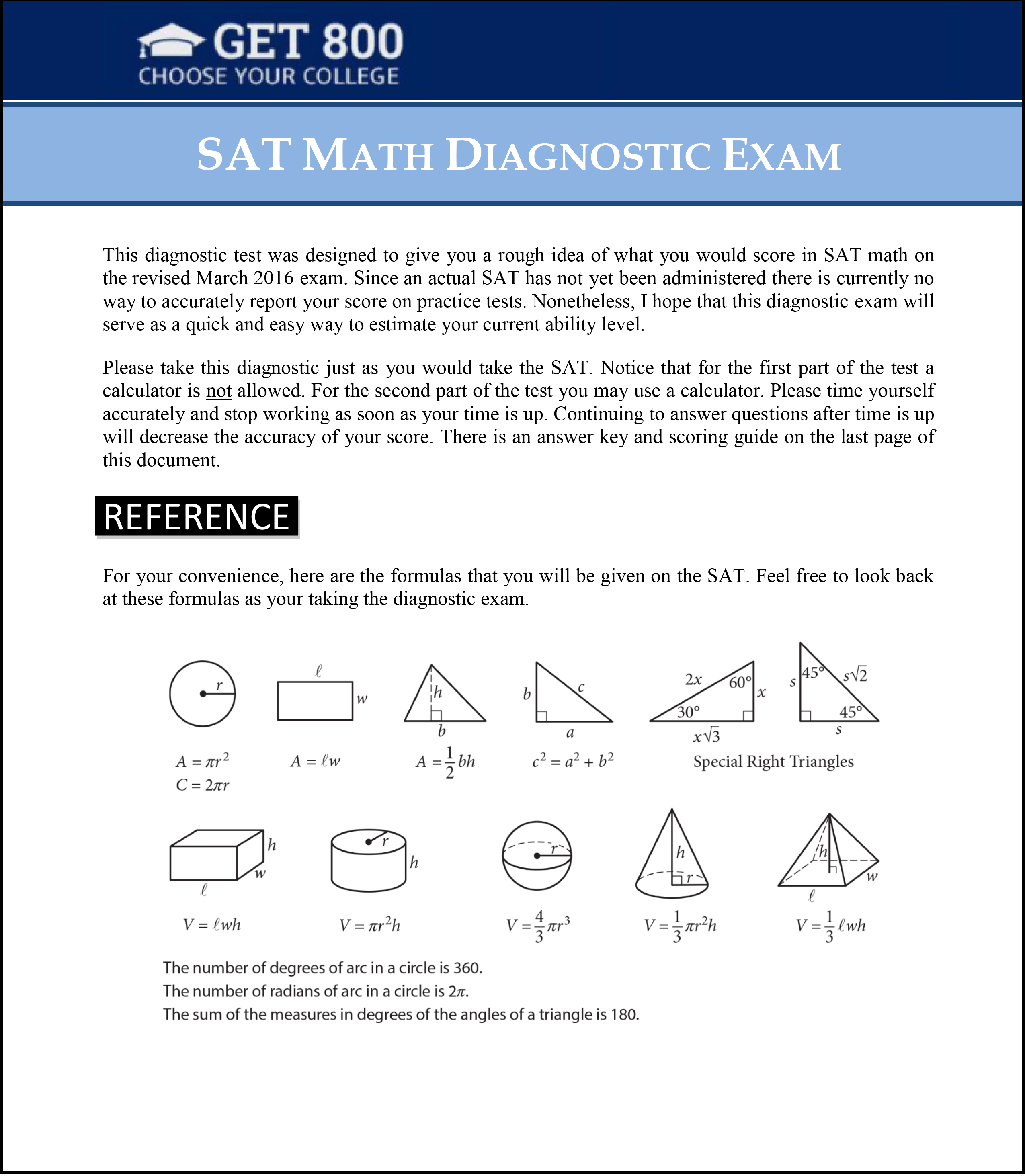 Free Sat Math Diagnostic Exam For The Sat