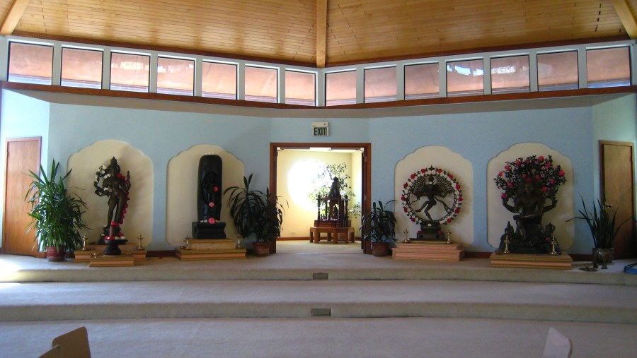 From left to right, altars of Ardhanarisvara with Siva-lingam, Lingodbhava, Siva and Panchalinga (Five Siva-lingams) in the background, Nataraja, Dakshinamurti