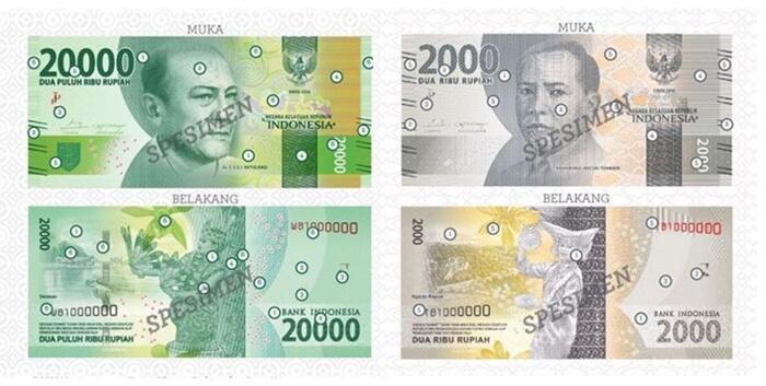 uang baru indonesia pecahan 20000 dan 2000
