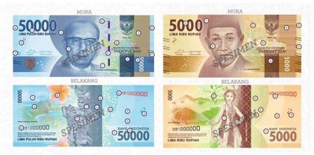 uang baru indonesia pecahan 50000 dan 5000