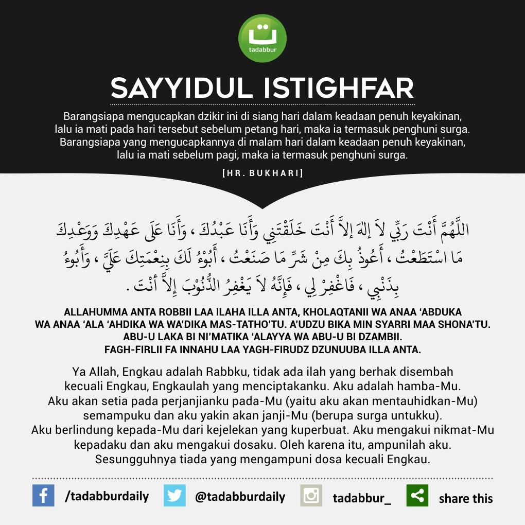 Bacaan Doa Sayyidul Istighfar Tulisan Arab Latin Arti Dan
