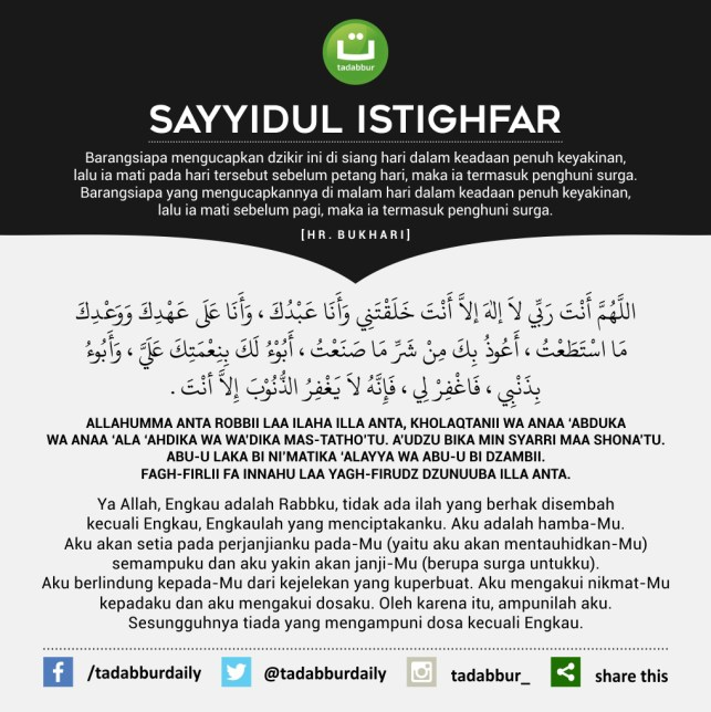 lafadz doa sayyidul istighfar