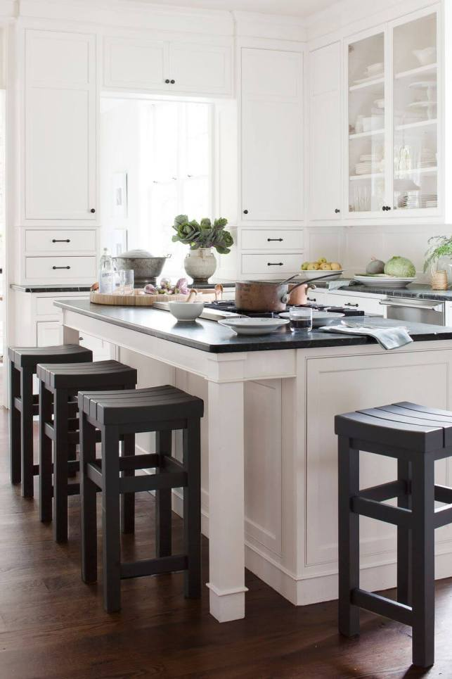 Dark-walnut floorings, green soapstone counters