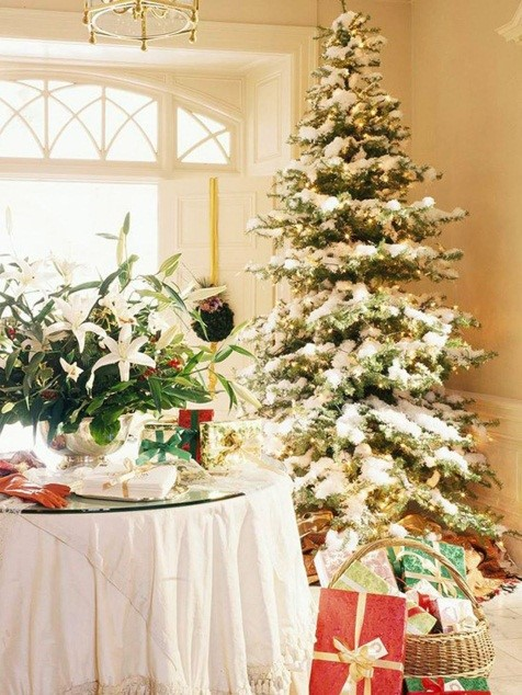 Christmas Room Decoration Ideas with Snowy Tree - i-exc.ccm2net