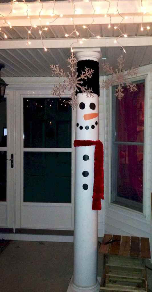 Snowman Decoration by Dressing Up the House Poles - decornamentationcom