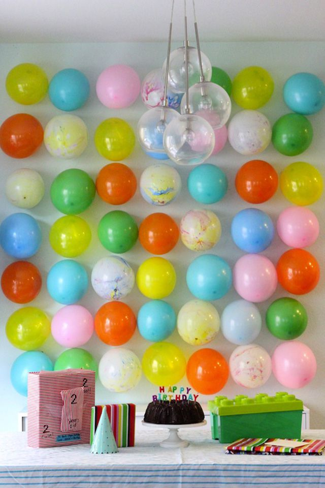 Birthday Decoration Ideas with Balloons Filling Up the Wall - thesprucecraftscom